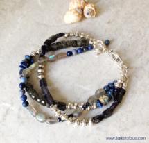 Blue Three Strand Gemstone Bead Bracelet