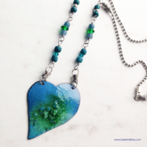 Blue Enameled Heart Necklace