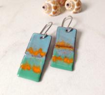 Green and Orange Geometric Art Earrings