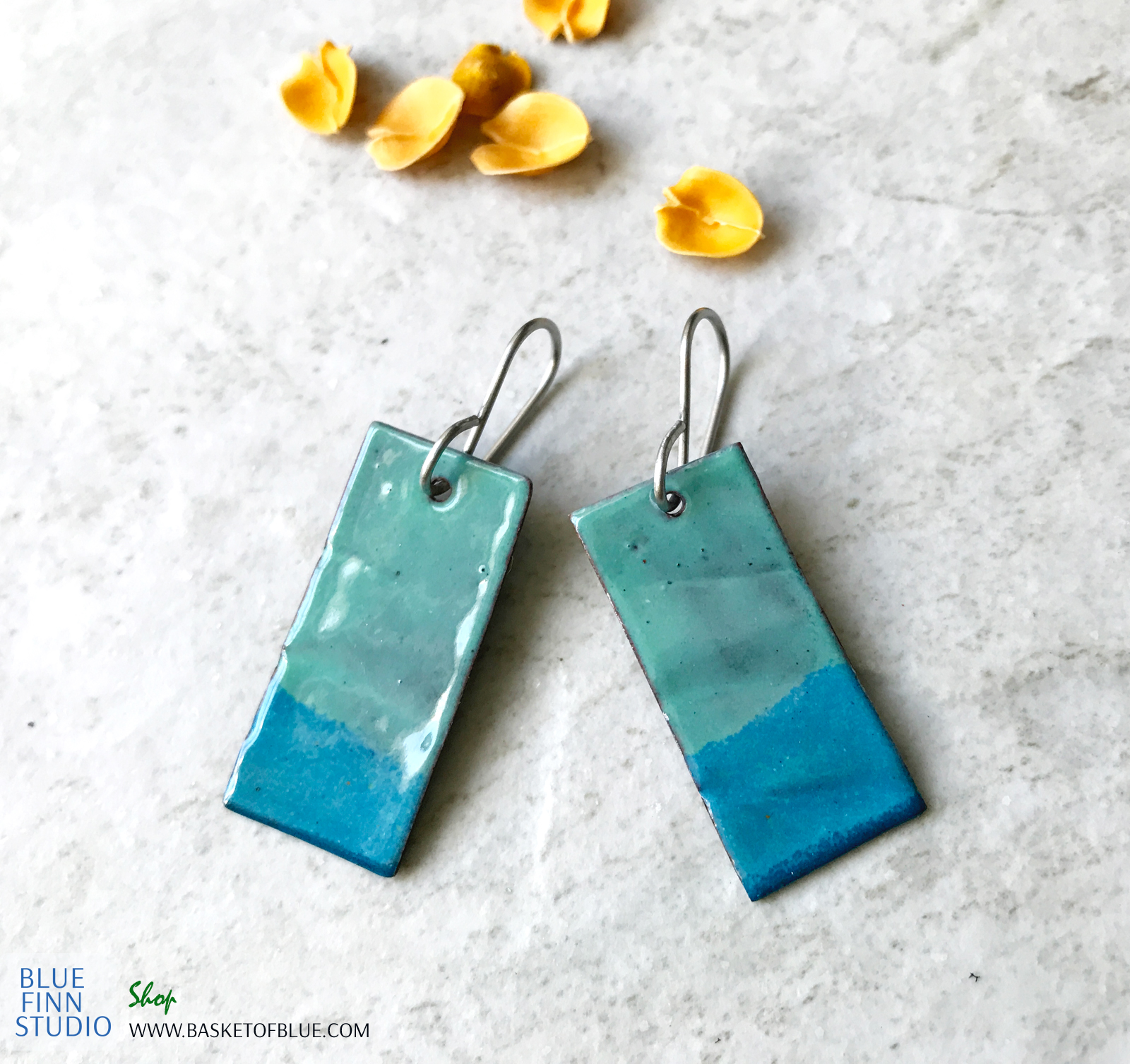 enameled aqua blue green rectangle earring