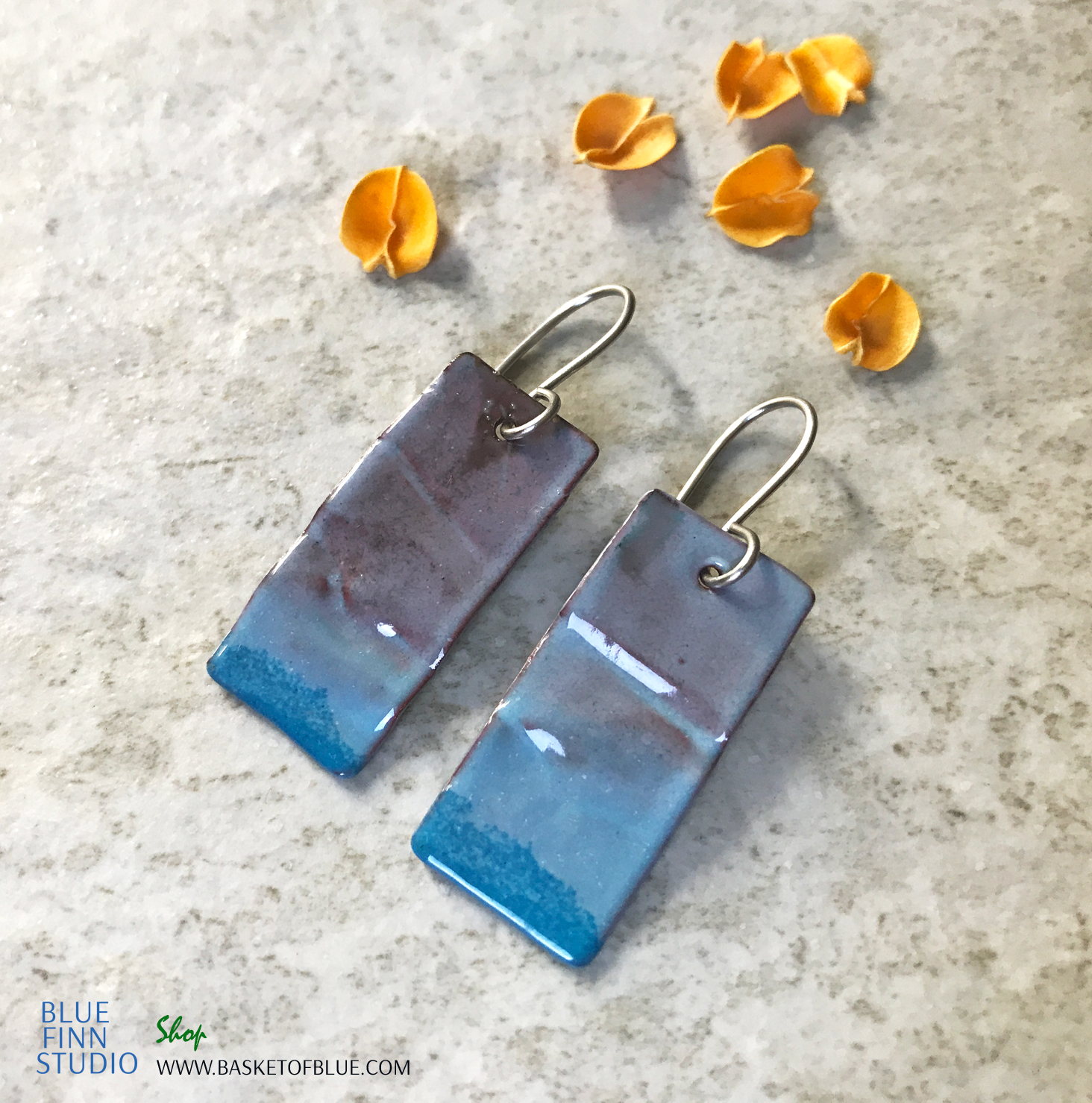 enameled blue rectangle earring